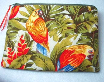 Cosmetic Zipper Pouch Coin Purse Gadget Case in Parrot Rainforest Print