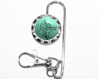 Personalized Winter Tree Against a Turquoise Sky Purse Keychain Finder (A160)
