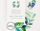 Tuscany Vineyard Save The Date - Olive Branches, as seen in Brides Magazine