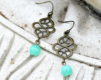 Bohemian Chandelier Earrings - Antique Brass, Seafoam, Green, Aqua, Teal, Czech Glass, Silk Road, Gift for Her, Women's, Boho Chandelier