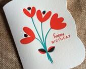 tulips happy birthday card - letterpress birthday card - lp633