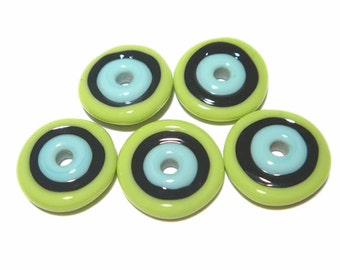 DISCS 37 Lampwork Bead Set Handmade - Turquoise Blue Lime Green Black  Discs  - 5 Beads
