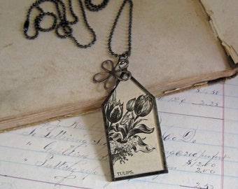Tulip Necklace Vintage Seed Catalog Paper Jewelry