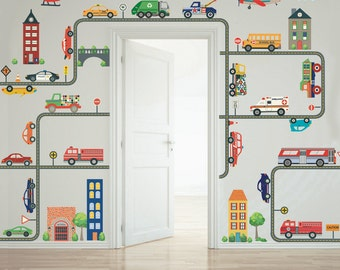 Transportation Town Wall Decals , EMS, Cars, Trucks, Taxi, Buses, Helicopter & Airplanes plus Straight and Curved Gray Road