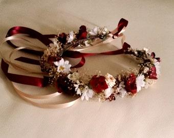 Vineyard Wedding Hair Accessories Flower Crown Wine Burgundy