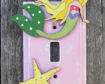 MERMAID Switch Plate Cover - Original Hand Painted Wood