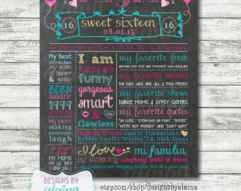Sweet 16 Birthday Memory Chalkboard Poster/ Pink / Aqua / Glitter Gold / Board / Sign / Gift / Personalized / Custom / Digital / Printable