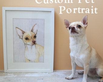 Custom pet portrait - mixed media original painting of dog, cat, rabbit, rat, bird horse