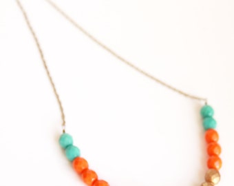 Turquoise orange gold Color block czech glass necklaces