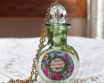 Tiny Green Glass Perfume Bottle with Vintage Paper Perfume Label Copy Pendant / Necklace, Crystal Stopper, Pink Roses / Pink Rose