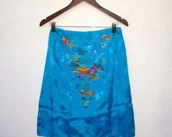 Embroidered Silk Skirt Bright Aqua Hand Embroidery Boho Asian, Zipper Amsterdam Med 29 inch waist Secretary Fitted Skirt