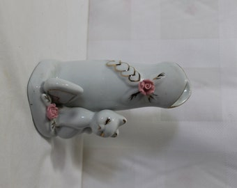Small Porcelain Vase With Kitten, Hearts, & Roses