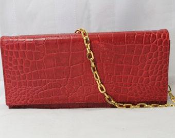 Vintage GIANI BERNINI Red Leather Date Night Clutch or Shoulder Bag