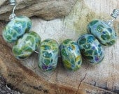 Jurassic Rainbow Boro Glass Lampwork Beads- Handmade Artisan Lampwork Beads- Blue, Green, Yellow, and Purple Borosilcate Glass