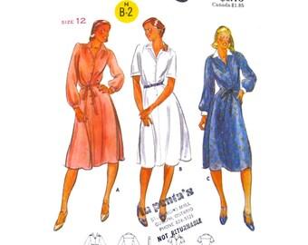 Shirt Dress Pattern Butterick 5879 Button Front Dress Long Sleeve Blouson Dress Collar Womens Sewing Pattern Bust 34 UNCUT