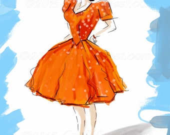 Fashion Illustration Print, Tangerine Dream