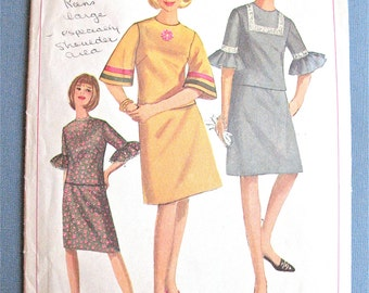 1960s Simplicity 6717 Teen Junior Petites and Misses Two Piece A-line  Dress Vintage Sewing Pattern  Bust 32