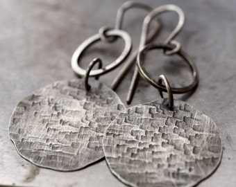 Handmade lightweight hammered fine silver disc and hoop earrings