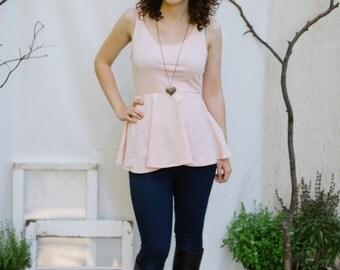 SALE Blush Pink Peplum Tank Top-Womens Tops-Peplum Tops-Summer Fashion