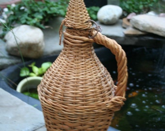 Vintage Brown Wicker Wrapped Jug / Very Nice
