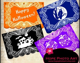 Papel Picado Halloween Digital Collage Sheet - 3x4.5 party garland pennant flags banners printable - Upring 300jpg