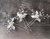 Boho Gold Silver Pearl Hair Pin, Pearl Crystal Floral Hair Pin with leaves, Wedding Gold hair vine, Boho Headpiece - 'POSY'