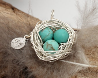 Personalized bird nest necklace with three turquoise eggs and initial charm- silver plated woven wire- Sterling chain- December birthstone