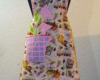1940's Vintage Inspired Pink Sunflower Picket Fence Appliqued Flower Pot Pocket Full Apron
