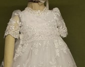 "Monica Rose"" Angela West Christening gown set IVORY OR WHITE with,bonnet,booties,  bib, preservation kit"