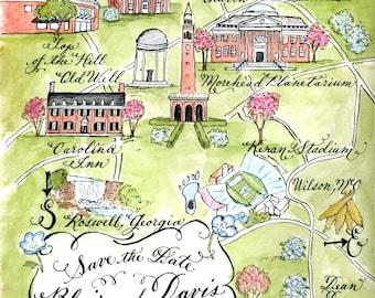 Custom Watercolor Wedding Map by Robyn Love