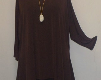 Coco and Juan, Lagenlook, Plus Size Top, Chocolate Brown, Traveler Knit, Drape Side, Women's Tunic Top, One Size, Bust  to 60 inches