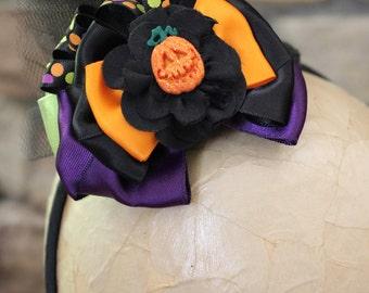 Mini Witch Hat, Witch Headband, Halloween hat, Pumpkin_Black and Orange Polka Dot