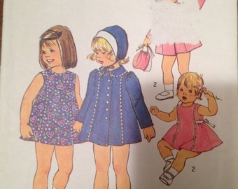 Simplicity 7323  Size 3  Toddlers Dress, Coat and Hat.    1970's Sewing Pattern