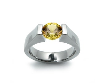 Yellow Sapphire Tension Set Ring Stainless Steel