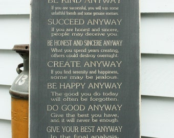 Mother Teresa Do It Anyway Wood Sign Gift - 16x34 Carved Engraved Shabby Chic Catholic Handpainted Rustic Wooden Sign