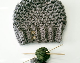 Crochet Pattern PDF - Easy Charcoal Chunky Crocheted Slouchy Hat - Winter 2016 Fashion Accessories , Can Sell Items Made from Pattern