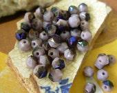 Czech 4mm English Cut Glass Beads- Lavender Azuro (100)