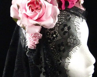 Burnt Pink Rose Headdress with Trailing Black Lace for Day of the Dead/Dia de los Muertos/Costume/Wedding