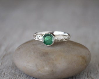 Emerald Ring in Sterling Silver - Handcrafted Artisan Silver Ring - Sterling Silver Emerald Stacking Ring - May Birthstone Ring