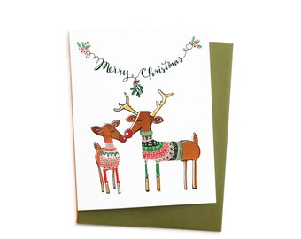Ugly Sweater Party Card, Couple's Newlywed Christmas Card Single