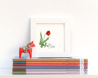 Poppy Tulip Flower, Illustrated + Perforated Mini Print Greeting Card