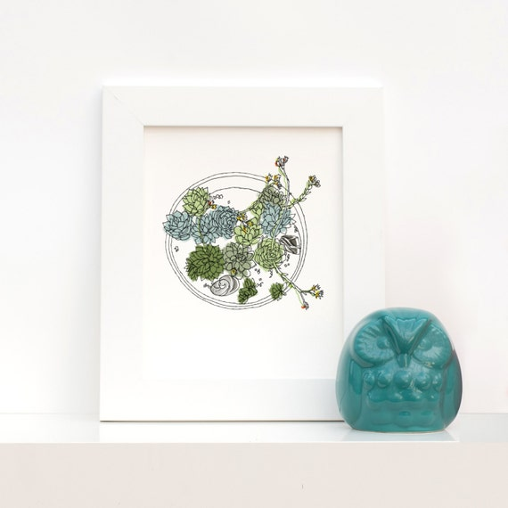 Hen and Chicks, Succulent Container Garden Line Drawing Art Print in Green, Moss and Blue