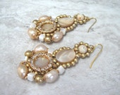 For Fernie Sample SALE Fresh Water Pearl Drop Earrings -  Large Dangle Earrings in Pearl & Light Gold