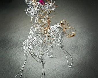 Customized White Unicorn Ornament, Wire Sculpture, Unicorn Figurine, Unicorn Collectible Gift, Personalized Unicorn,  Unicorn Decor