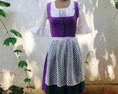 Vintage 1950's Dirndl Purple Bavarian Trachten Octoberfest Dress - Four Piece Set - By Lehrer -  Euro Size 40 Medium