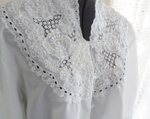 lace boho top, boho clothing, L XL plus size, bohemian clothing, large size, victorian top, asian embroidery, steampunk costume
