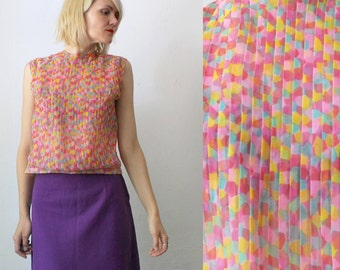 60s cropped top. pleated chiffon top. candy colored tutti frutti blouse - medium