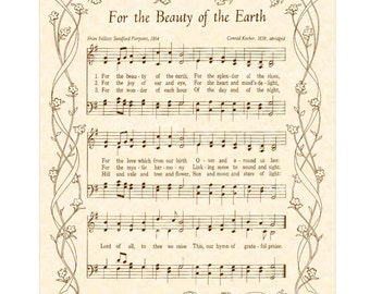 FOR The BEAUTY Of The EARTH - 8x10 Antique Hymn Art Print Natural Parchment Sepia Brown Vintage Verses Sheet Music