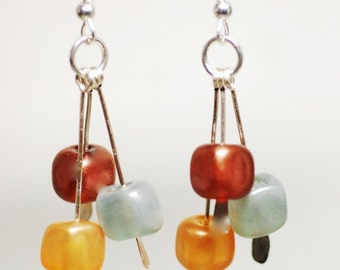 Summer sale geometric sterling silver earrings minimalist cube earthy colors lampwork luster glass and dangles  gold silver copper satins