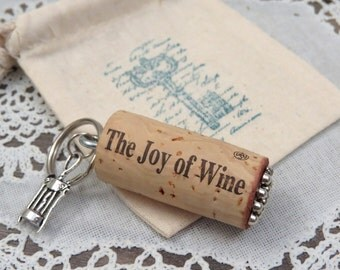 The Joy of Wine Keychain in Gift Bag made from Used Wine Cork, Floating Key Chain for Boat or Pool Keys, Gift for Wine Lovers